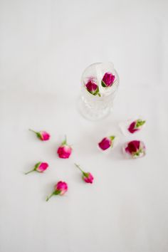 DIY Rose Ice cubes  Styled DIY Shoot by Alisa Lewis Florals by Garden of Eden Specialty Rentals from the Attic Photos by Samantha Cabrera  Featured on @Ruffled