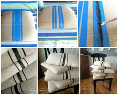 Rehab to Fab painted grain sack stripes with @generalfinishes Lamp black milk paint. Check out Rehab to Fab on Facebook for the tutorial.   https://www.facebook.com/media/set/?set=a.825130367543608.1073741856.730974630292516&type=1