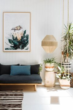 Pop & Scott Linen Dreamer Couch + Thinking Swing, Print by Lisa Sorgini, Sand Stone Sculpture by Den_holm. Photo by Bobby + Tide Living Room Inspiration, Interior Inspiration, Home Living Room, Living Spaces, Apartment Living, Apartment Ideas, Living Area, Pop And Scott, Bohemian Interior Design
