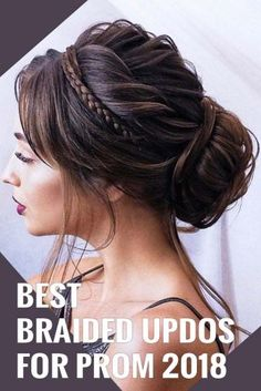 Braided prom hair updos look really elegant and beautiful. We have picked the trendiest updo hairstyles for our photo gallery. Prom Braid, Braided Prom Hair, Prom Hair Updo, Braided Updo, Homecoming Updo, Hair Ponytail, Ball Hairstyles, Box Braids Hairstyles, Formal Hairstyles