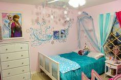 Disney Frozen Elsa's Bedroom!  How Perfect! A Disney Frozen Bedroom for twins! It's exactly how Anna's bedroom and Elsa's bedroom would look! mysecretvanillalife.blogspot.com