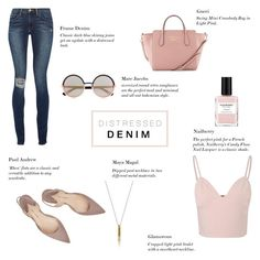 """""""Distressed Denim - Plush Pink"""" by rachaelselina ❤ liked on Polyvore featuring Frame Denim, Gucci, Marc by Marc Jacobs, Glamorous, Paul Andrew, women's clothing, women, female, woman and misses"""