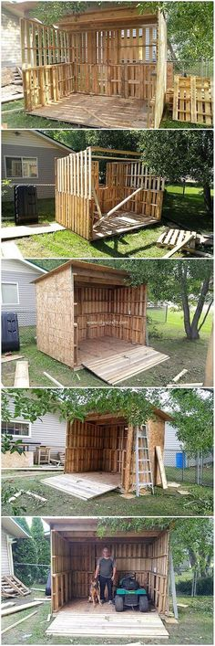 Check out with this pallet creation! Well as you will catch the image, you will view the use of this creation for the ideal savage of the garden shed. This creation is being adjusted with the finest finishing of the wood Garden Shed Diy, Herb Garden Pallet, Pallet Garden Furniture, Pallets Garden, Garden Ideas Using Pallets, Pallet Shed, Pallet House, Wood Pallet Recycling, Palette Diy