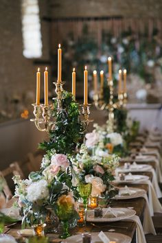 tall candlelabra centerpieces with vintage glassware Wedding Music, Wedding Sets, Wedding Table, Wedding Colors, Wedding Flowers, Wedding Reception, British Wedding, European Wedding, Scones Und Clotted Cream