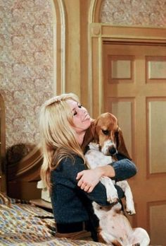 Brigitte Bardot...love the Bassett Hound.