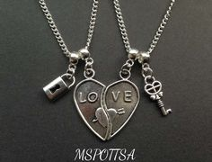Love Hearts Necklaces Lock & Key Friendship Necklaces Couples BFF Christmas Gift #Pendant
