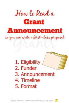 How to read a grant application so you can write a first-class grant with Word Wise at Nonprofit Copywriter Grant Proposal Writing, Grant Writing, Writing Resources, Writing Tips, Business Plan Outline, Grant Money, Grant Application, Professional Writing, Write It Down