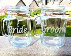 Mason Jar Wedding Bride Groom Mason Jar Mug Set