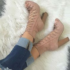 Leg Wrap Lace up Chunky Heels
