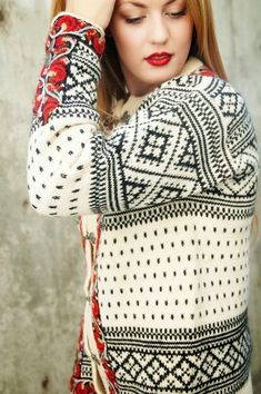 Dale of Norway cream and black cardigan with what looks like red embroidery at cuffs and facing. Wooly Jumper, Wool Cardigan, Black Cardigan, Norwegian Knitting, Crochet Wool, Vintage Sweaters, Women's Sweaters, Cardigans, Fair Isle Knitting