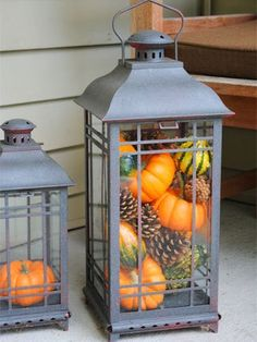 These decorative pumpkin-filled lanterns are super easy to make.