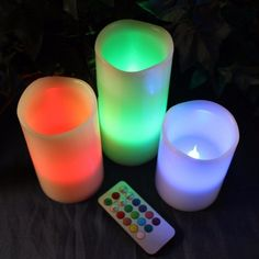 Set the ambiance to spa relaxation with this set of 3 remote controlled LED candles. Colors can be set and changed to match the mood or decor of your treatment