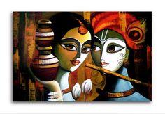 Madhubani Art, Madhubani Painting, Painting Art, Painting Lessons, Painting Tips, Fabric Painting, Krishna Painting, Krishna Art, Radhe Krishna
