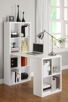 Wall desk unit office bookshelf shelves white hollow core hobby on ikea corner . built in desk discover ideas about shelves ikea Craft Room Tables, Ikea Craft Room, Craft Desk, Craft Space, Diy Desk, Craft Art, Computer Desk With Shelves, Desk Shelves, Bookcase Desk