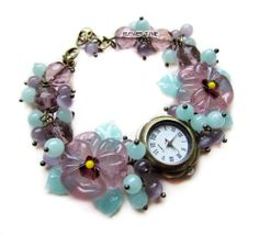 Women quartz  lampwork wrist watch 'Lavender' with handmade lampwork beads ''pansies'' made by Inna Kirkevich