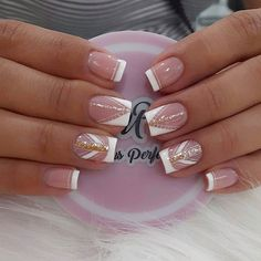Nail Art Designs, French, Diamond, Beauty, Work Nails, Classy Gel Nails, Polish Nails, Decorations, Short Nail Manicure
