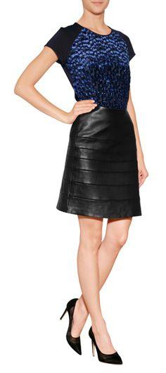 DIANE VON FURSTENBERG Leather Beverly Skirt in Black