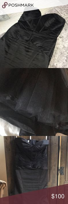 Zac Posen mermaid gown Zac Posen black satin mermaid gown . Tube bustier top and tulle underneath mermaid bottom . Worn once . Needs to be steamed. Runs small . Zac Posen Dresses