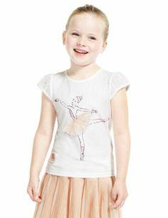 Royal Ballet Studded T-Shirt with Modal - Marks & Spencer