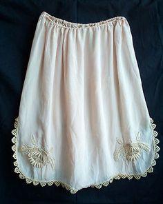 Antique Vntg 20s 30s Half Slip Skirt Knickers Pantlettes Pink Silk Lace Lingerie   eBay