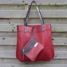 Leather Tote bag / large shopper BIG and zipper pouch in deep red full grain leather and dark brown vegetable tanned leather straps by rinarts on Etsy