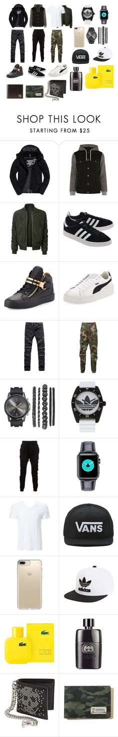 """men style"" by maheen-modak on Polyvore featuring Superdry, River Island, LE3NO, adidas Originals, Giuseppe Zanotti, Puma, R13, adidas, Blood Brother and Simplex Apparel"