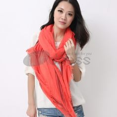 Wool Scarves-Solid color wool warm scarf