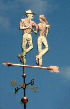 Dancers Weathervane, Cotton Eyed Joe Dancers by West Coast Weather Vanes. This handcrafted, custom made, copper and brass, unique weathervane dances above your roof to the tune of Cotton Eye Joe.