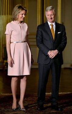 Queen Mathilde and King Philippe of Belgium attend a ceremony dedicated to people who receive nobility title on 18.11.2014 at the Royal Palace in Brussels.