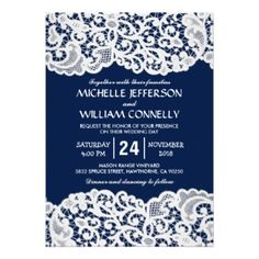 Rustic Navy Blue Wedding Invitations  #rusticweddinginvitations #rusticweddings #navyblueweddingtheme #laceweddinginvitations