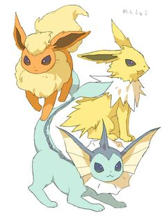 flareon, jolteon, vaporeon, pokemon