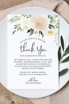 Express your gratitude and thanks with a these beautiful blush floral table thank you cards for your guests at your wedding reception. These unique cards fit nicely onto a plate or tucked in a napkin at each table place setting - leave a great first Wedding Guest Table, Wedding Favor Table, Wedding Reception Tables, Unique Wedding Favors, Wedding Centerpieces, Wedding Decorations, Wedding Table Cards, Simple Wedding Cards, Masquerade Centerpieces