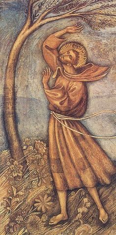 Canticle of the Creatures - St. Francis of Assisi and Brother Wind by Piero Casentini, for the Sanctuary of San Damiano at Assisi. Catholic Saints, Catholic Art, Religious Icons, Religious Art, St Francisco, Sun Sisters, Clare Of Assisi, St Clare's, Francis Of Assisi