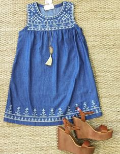 Denim Embroidered Dress, this would look cute with some leggings