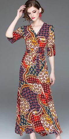Vintage Half Sleeve Split Slim Big Hem Maxi Dress - Best Sewing Tips Stylish Dresses, Fashion Dresses, Casual Dresses, Maxi Dress With Sleeves, Half Sleeves, Spring Outfits Women, Maxi Gowns, Mode Hijab, Ladies Dress Design