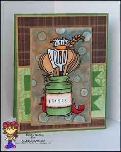 Thank You card featuring Bugaboo Stamps Kitchen Jar