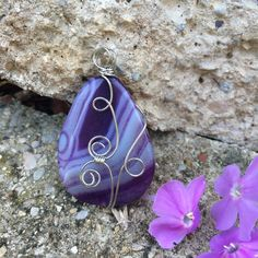Handmade Wire Wrapped Purple Agate Druzy Pendant by WillowCreekRustic on Etsy