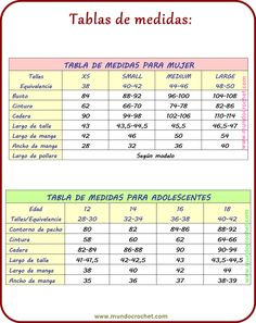 tabla de medidas tejidos