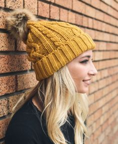 Hip Mustard Cable Knit Fur Pom Beanie Winter Accessories d69b75e9aac6