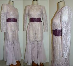 1980s 80s Dress / Pink LACE / Sheer / Mermaid Hem / by JEWVENCHY