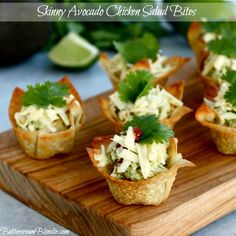 Skinny Avocado Chicken Salad Bites. These little wonton cups are super easy to make and were such a hit.