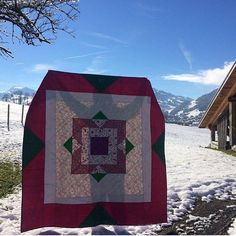 A Poinsettia quilt for Christmas! Pattern at BlossomHeartQuilts.com