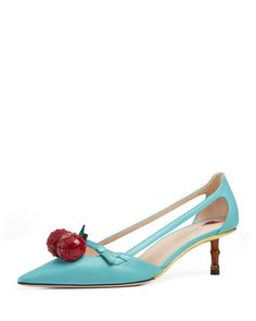 Unia Cherry Leather 45mm Pump by Gucci at Neiman Marcus.