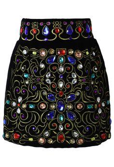 Baroque Crystal Embellished Velvet Skirt in Black - Retro, Indie and Unique Fashion