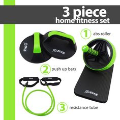 Zizz Fit Ab Roller Wheel, Push Up Bars & Resistance Tube Fitness Equipment Set for Home & Gym - Premium Quality Total Body & Core Workout Kit - FREE Knee Pad & Exercise Guides Included. Home Gym Equipment, Fitness Equipment, No Equipment Workout, Push Up Bars, Resistance Tube, Ab Roller, Eco Friendly House, Workout Guide, Total Body