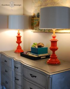 tangerine lamps on silver dresser Painting brass lamps Spray Paint Lamps, Living Room Color Schemes, Redo Furniture, Lamp, Painting Lamp Shades, Interior Wall Decor, Home Decor, Lamp Makeover, Brass Lamp