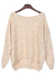 Apricot Rhombus Print Batwing Sleeve High Low Sweater
