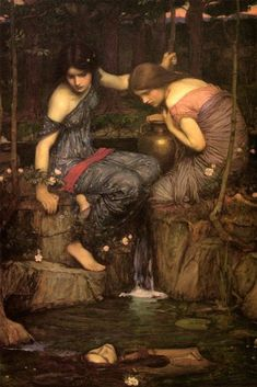 Girls Ladies Nymphs Finding The Head Of Orpheus Painting By J W Waterhouse Repro