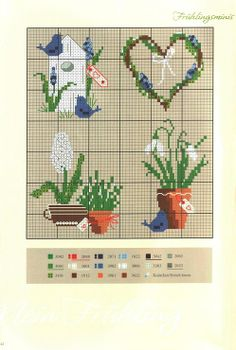 Embroidery template for Easter with color palette- Stickvorlage für Ostern mit Farbpalette Embroidery template for Easter with color palette - Cross Patterns, Counted Cross Stitch Patterns, Cross Stitch Designs, Cross Stitch Embroidery, Mini Cross Stitch, Cross Stitch Heart, Cross Stitch Flowers, Quilt Stitching, Cross Stitching
