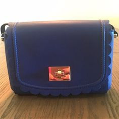 "25% off Sale} Kate Spade Blue Scalloped Cross Body ✨Kate Spade Royal Blue Scalloped Crossbody Handbag✨ Measurements: W 9 1/2"" x H 7"" Drop can be adjusted from 21 1/2"" - 23"" ✨Please note wallet is just to show matching set 😊But can Absolutely be bundled ✨ kate spade Bags Crossbody Bags"